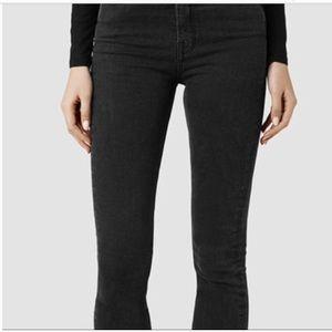 ALL SAINTS shiny mat washed black jeans MAST fit